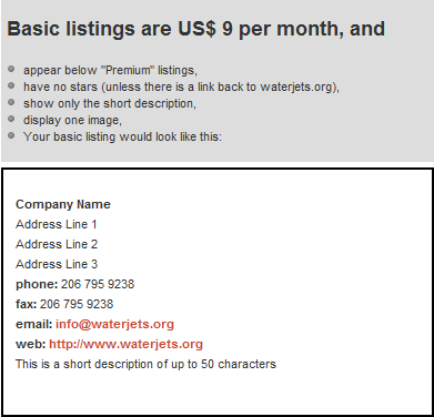 Basic ad listing rates for waterjets.org