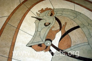 Marble inlay inspired by Alexander the Great's horse, Bucephalus, cut on a waterjet