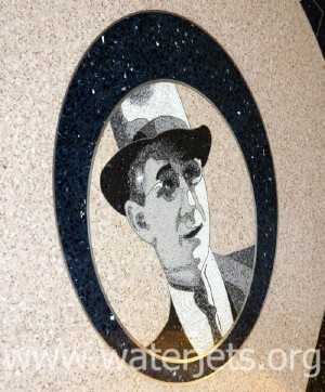 Terrazo image of David Allen with form cut on waterjet