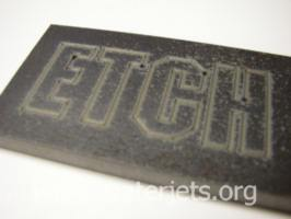 Etching with waterjet