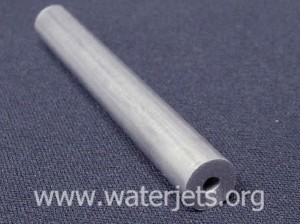 High pressure waterjet tubing that has been cut with an abrasive waterjet