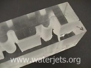 Visual demonstration of how an abrasive jet behaves when cutting thru plexiglass