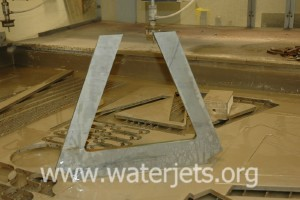 """Cross member brace cut form 0.5"""" steel by waterjet"""