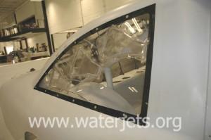 rear window of race car cut from lexan by waterjet