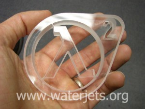half-life 2 logo cut from Plexiglas on a waterjet