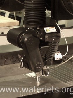 OMAX Tilt-A-Jet® articulated cutting head for taper removal